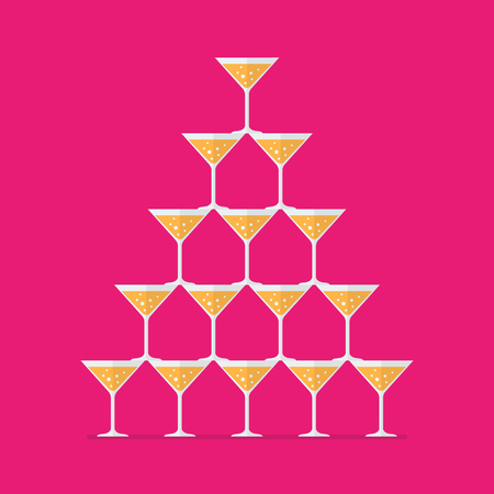 Cocktail glasses stacked in a pyramid tower. Vector illustration