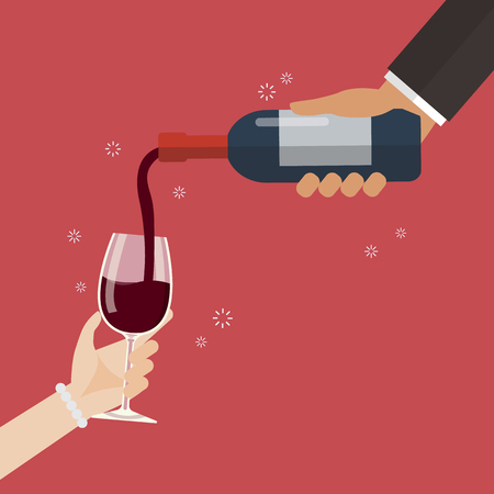 Wine pouring in wineglass. Vector illustration