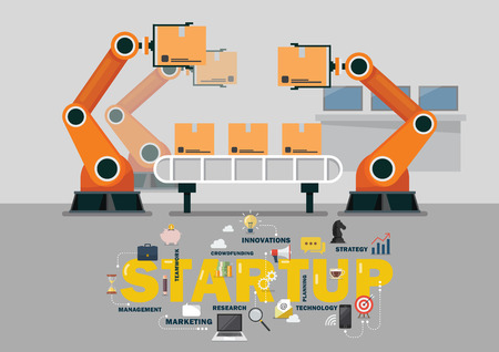 Automation robot arm machine in smart factory industrial. Startup business vector illustration Ilustrace