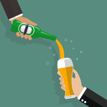 Man pouring beer on glass. Vector illustration