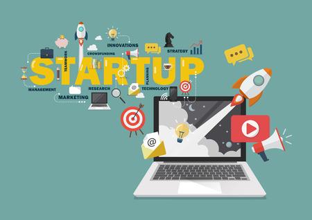Digital marketing Startup business concept. Vector illustration
