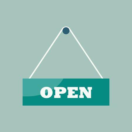 Open sign hanging plate. Vector illustration Ilustração