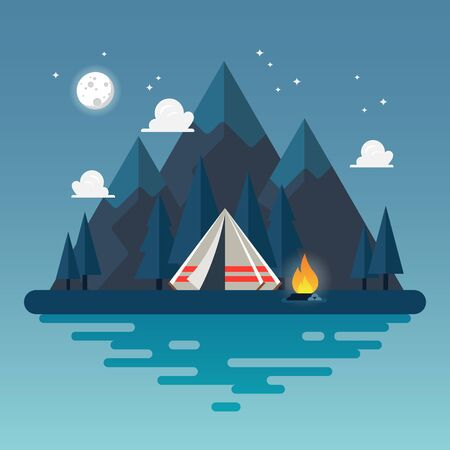 Camping tent with landscape at night