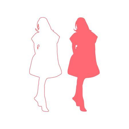 Vector illustration of female silhouette. graphic design