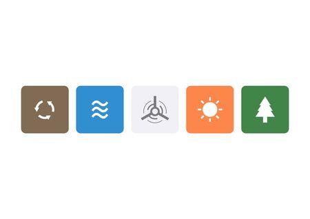 Green energy symbol icons vector illustration
