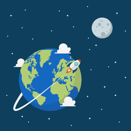 Planet earth and moon in space. Vector illustration 向量圖像