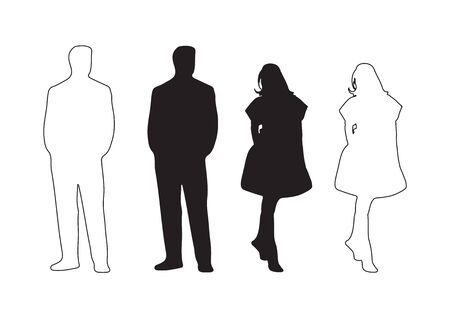 Vector illustration of male and female silhouette. graphic design