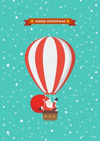 Santa claus on a hot air balloon. Vector illustration