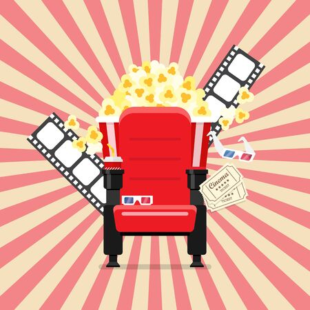 Cinema seats in a cinema with popcorn drinks and glasses. Vector illustration 版權商用圖片 - 129273864