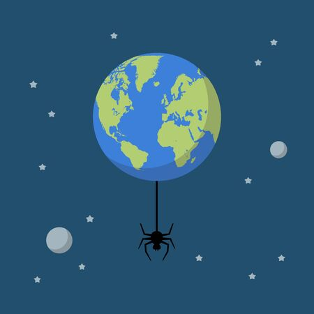 Planet earth with spider. Global network connection