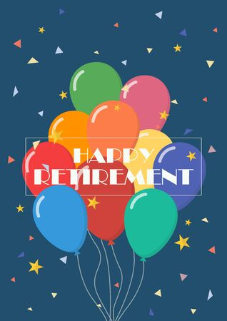 Happy retirement with balloons. Greeting card 版權商用圖片 - 128752000