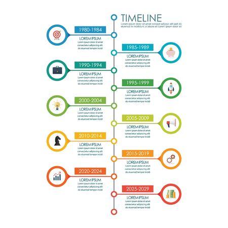 Infografía de gráfico de línea de tiempo. ilustración vectorial