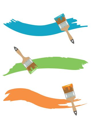 Paint brush with paint color in flat style. Vector illustration