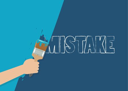 Hand painting to cover mistake. Vector illustration 版權商用圖片 - 132758888
