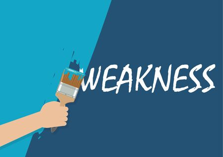 Hand painting to cover weakness. Vector illustration
