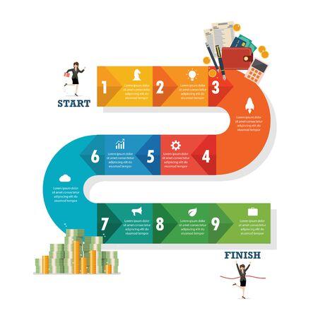 Nine step path infographic. Vector illustration