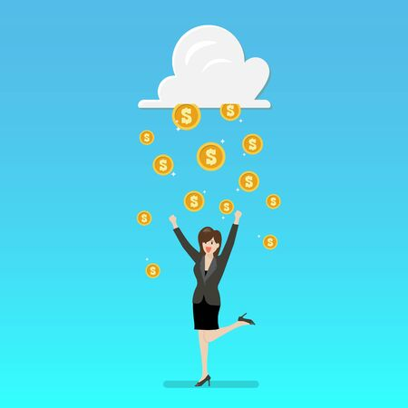 Success business woman with cloud and money rain. Vector illustration