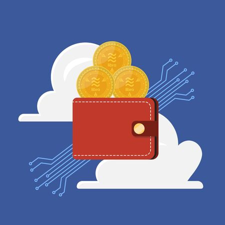 Libra money currency in wallet with cloud. financial technology