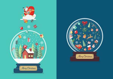 Merry christmas glass ball greeting cards collection. Vector illustration 向量圖像