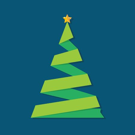 Christmas tree ribbon greeting card. Vector illustration