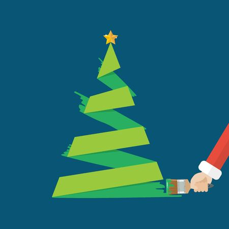 Christmas tree is painted by paint brush. Vector illustration