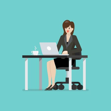 Business woman working on a laptop computer at office desk. Vector illustration