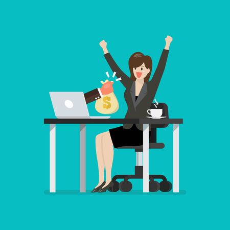 Happy business woman getting bag of money from her laptop. Vector illustration 向量圖像