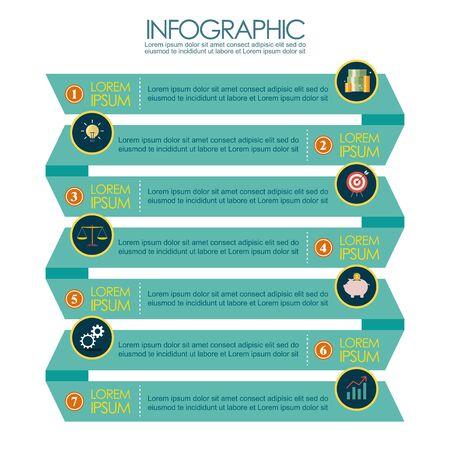 Presentation of ribbon step template infographic. Vector illustration 向量圖像