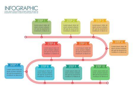 Timeline ten step template infographic. Vector illustration 向量圖像