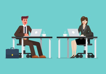 Business man and woman working on a laptop computer at office desk. Vector illustration