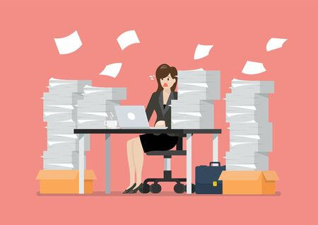 Busy overworked woman sitting at table with laptop and pile of papers in office. Vector illustration 向量圖像