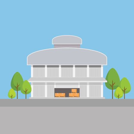 Factory building warehouses in flat style. Vector illustration