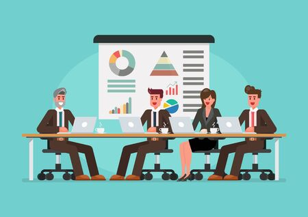 Business people meeting on the table. Vector illustration 向量圖像