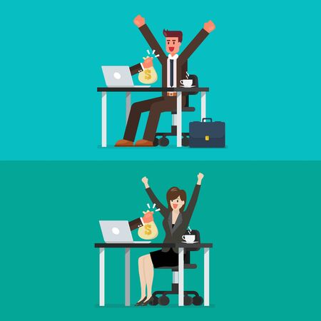 Happy businessman and woman getting bag of money from his laptop. Vector illustration 向量圖像