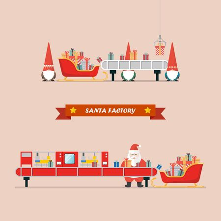 Santa factory concept. Santa sleigh waiting a gift boxes from robot belt machine