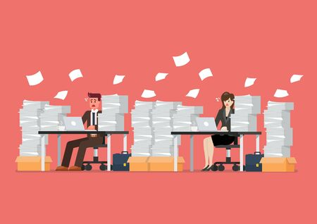 Busy overworked man and woman sitting at table with laptop and pile of papers in office. Vector illustration