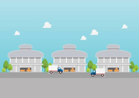 Factory building warehouses industrial zone. Vector illustration 向量圖像