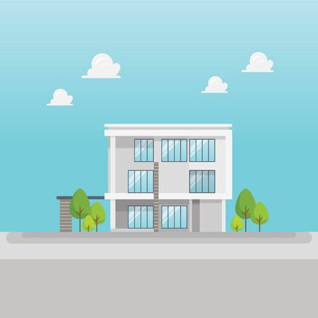 Modern building in flat style. Vector illustration