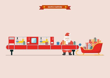 Santa sleigh waiting a gift boxes from robot belt machine. vector illustration