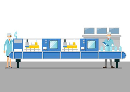 Automation belt machine in smart factory industrial. vector illustration