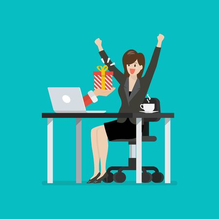 Happy business woman getting gift box from her laptop. Vector illustration