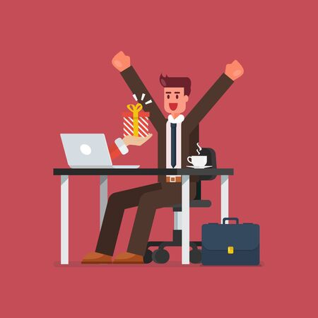 Happy businessman getting gift box from his laptop. Vector illustration
