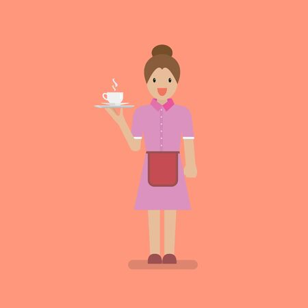 Waitress character serve a cup of coffee. Pink collar worker in flat style