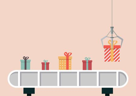 Gift boxes on belt machine with robotic claw. Vector illustration