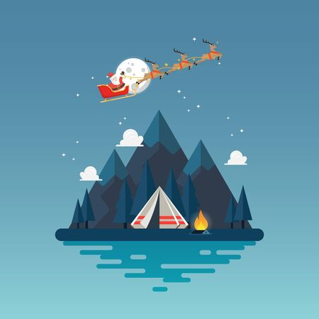 Camping tent with landscape at night. Vector illustration