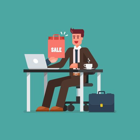 Business man shopping online on a laptop. E-commerce concept Vector illustration 向量圖像