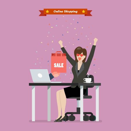 Business woman shopping online on a laptop. E-commerce concept Vector illustration