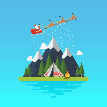 Santa sleigh with landscape. Vector illustration