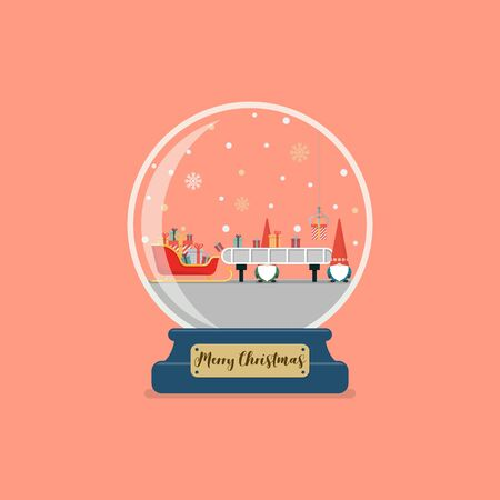 Christmas glass ball with santa factory. Santa sleigh waiting a gift boxes from robot belt machine
