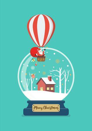 Merry christmas glass ball with santa in balloon. Vector illustration 版權商用圖片 - 134585000